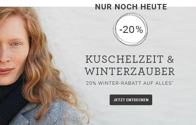 Nur noch HEUTE: 20% Winter-Rabatt auf ALLES* mit dem Code NATURE20